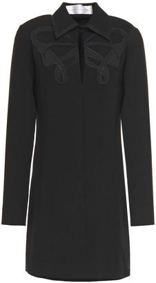 Victoria Victoria Beckham Satin-trimmed Embellished Crepe Mini Shirt Dress