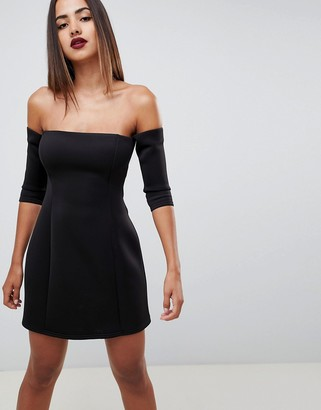 ASOS DESIGN scuba bardot mini shift dress