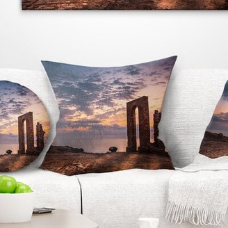 East Urban Home Landscape Historic African Ruins at Sunset Pillow East Urban Home