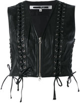 McQ by Alexander McQueen Eyelet Biker Gilet - women - Leather/Polyester - 38