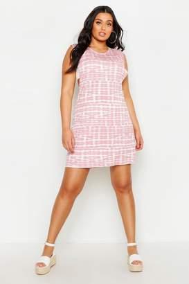 boohoo Plus Tie Dye Drop Armhole Beach Dress
