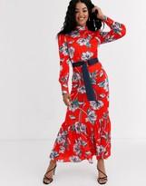 Liquorish ruffle hem maxi dress victoriana dress in floral