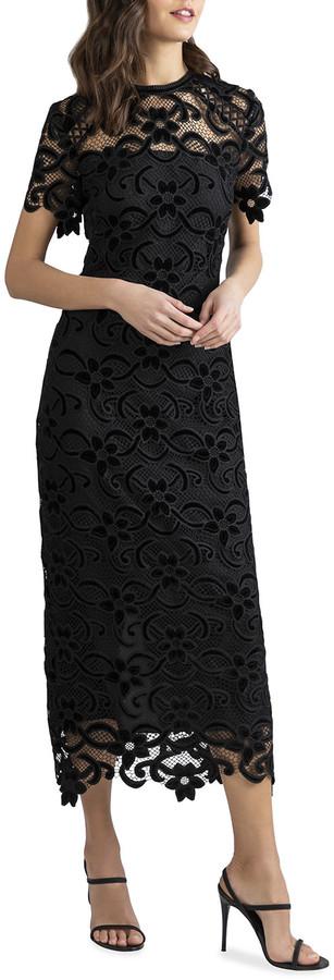 Shoshanna Kira Velvet Embroidered Floral Lace Dress