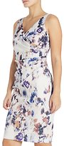 Adrianna Papell Sleeveless Side Drape Sheath Dress, Ivory/Multi