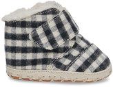 Toms Black Plaid Brushed Twill Tiny Cuna Crib Shoes