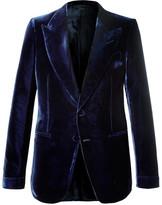 Tom Ford Navy Shelton Slim-fit Velvet Tuxedo Jacket - Navy