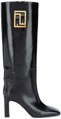 Versace Greca 90mm calf-height leather boots