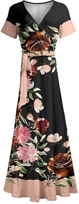 Lily Women's Maxi Dresses BGE - Beige & Rust Floral Wrap Maxi Dress - Women & Plus