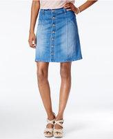 Celebrity Pink Juniors' Button-Front Denim Skirt