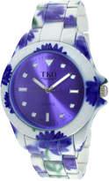 JCPenney TKO ORLOGI Womens Purple Floral Print Bracelet Watch