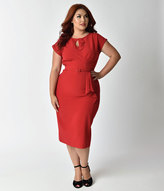 Stop Staring Plus Size 1940s Style Red Fitted Timeless Wiggle Dress