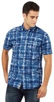 Mantaray Big And Tall Navy Floral Checked Print Shirt