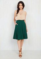 ModCloth Just This Sway Midi Skirt in Emerald in S