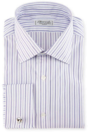 Charvet Ground-Stripe French-Cuff Dress Shirt