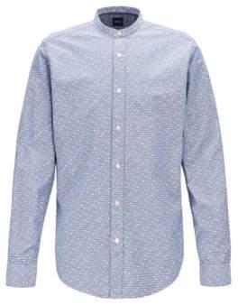 BOSS Regular-fit shirt in geometric-print cotton and linen