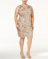 Adrianna Papell Plus Size Sequined Illusion Dress