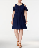 Style&Co. Style & Co Plus Size Embroidered Cold-Shoulder Swing Dress, Created for Macy's