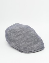 Asos Flat Cap In Washed Chambray