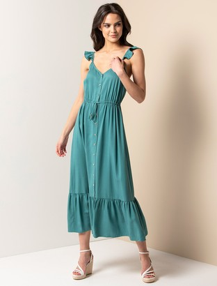 Forever New Amanda Frill Button-Front Dress - Teal - 12