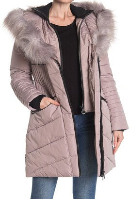 Noize Faux Fur Trim Quilted Parka