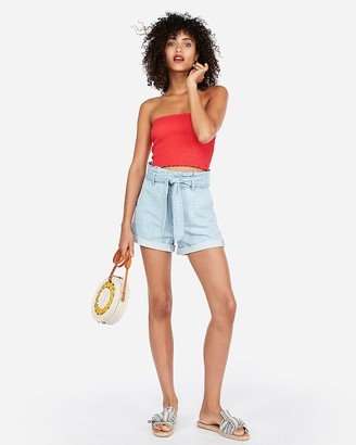 Express Super High Waisted Paperbag Jean Shorts