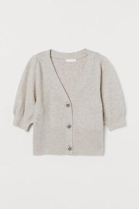 H&M Puff-sleeved V-neck Cardigan