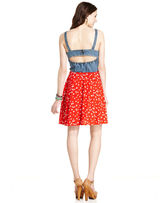 Angie Juniors Dress, Sleeveless Denim Printed