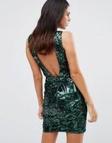 Forever Unique Gladice V Neck Sequin Mini Dress
