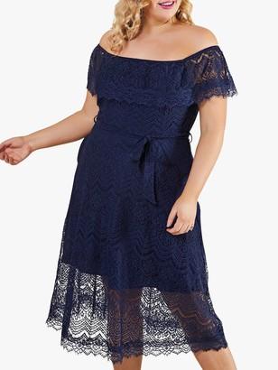 Yumi Curves Bardot Tie Belt Floral Lace Midi Dress