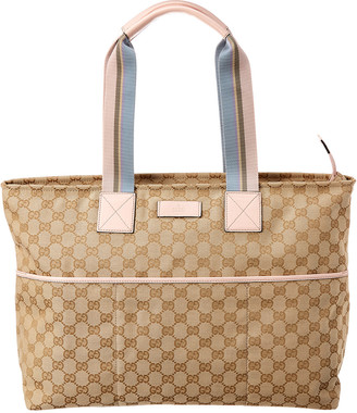 Gucci Gg Canvas & Pink Leather Tote