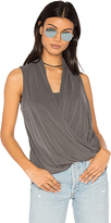 Lanston Asymmetrical Surplice Tank in Gray. - size S (also in )