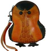 BPLeathercraft Lovely Baby Penguin Pattern, Real Leather Change Purse, Credit/ID Cards Holder, Zipper Closure. or Green Mix