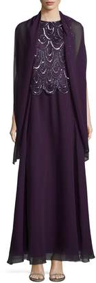 J Kara Beaded Popover Waist Gown with Wrap