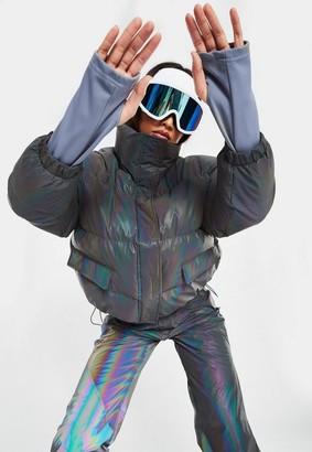Missguided Purple Msgd Ski Iridescent Jacket