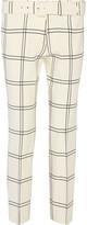 Derek Lam Cropped printed stretch-crepe straight-leg pants