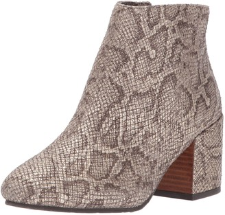 Gentle Souls by Kenneth Cole Women's Blaise Ankle Bootie with Side Zip Covered Block Heel Emb