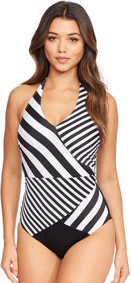 Figleaves Monochrome Stripe Underwired Tummy Control Swimsuit D-G cup