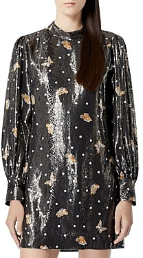 The Kooples Short Silk-Blend Lame Butterfly Dress