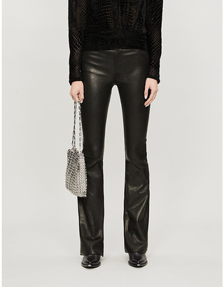 Frame Le High Flare leather trousers