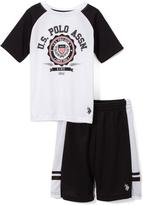 U.S. Polo Assn. White 'Polo' Logo Tee & Mesh Shorts Set - Infant Toddler & Boys