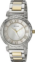 GUESS Women's U0831L3 Dressy Silver-Tone Watch with MOP Dial , Crystal-Accented Bezel and Stainless Steel Pilot Buckle