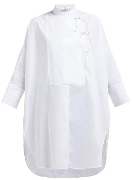 Jil Sander Giovanna Oversized Cotton Poplin Tunic - Womens - White