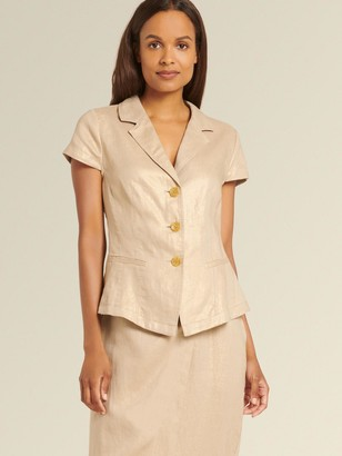 DKNY Donna Karan Women's Short Sleeve Jacket - Tan/Gold - Size 0