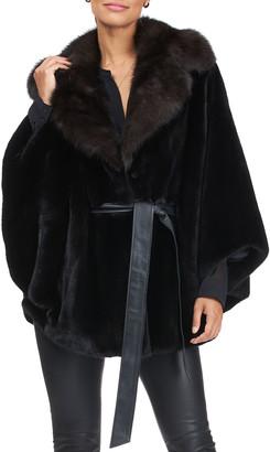 Gorski Mink Leather Belted Cape w/ Sable Fur Collar