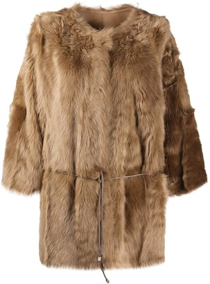 Yves Salomon Tie-Wais Fur Coat