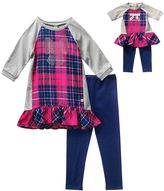 Dollie & Me Girls 4-14 Rhinestone Bow Plaid Ruffle Tunic & Leggings Set