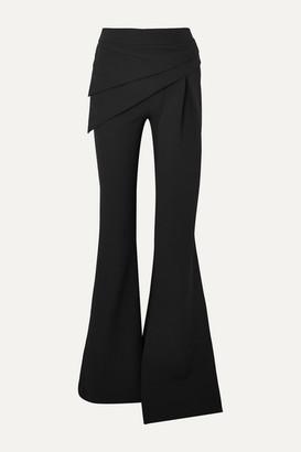 Safiyaa Hope Draped Stretch-crepe Flared Pants - Black
