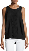 Design History Pleated Lace-Panel Blouse, Onyx