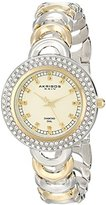 Akribos XXIV Women's AK804TTG Diamond and Crystal-Accented Metal Watch with Two-Tone Bracelet