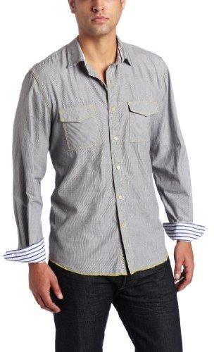 Arnold Zimberg Men's Striped Long Sleeve Button Down Shirt